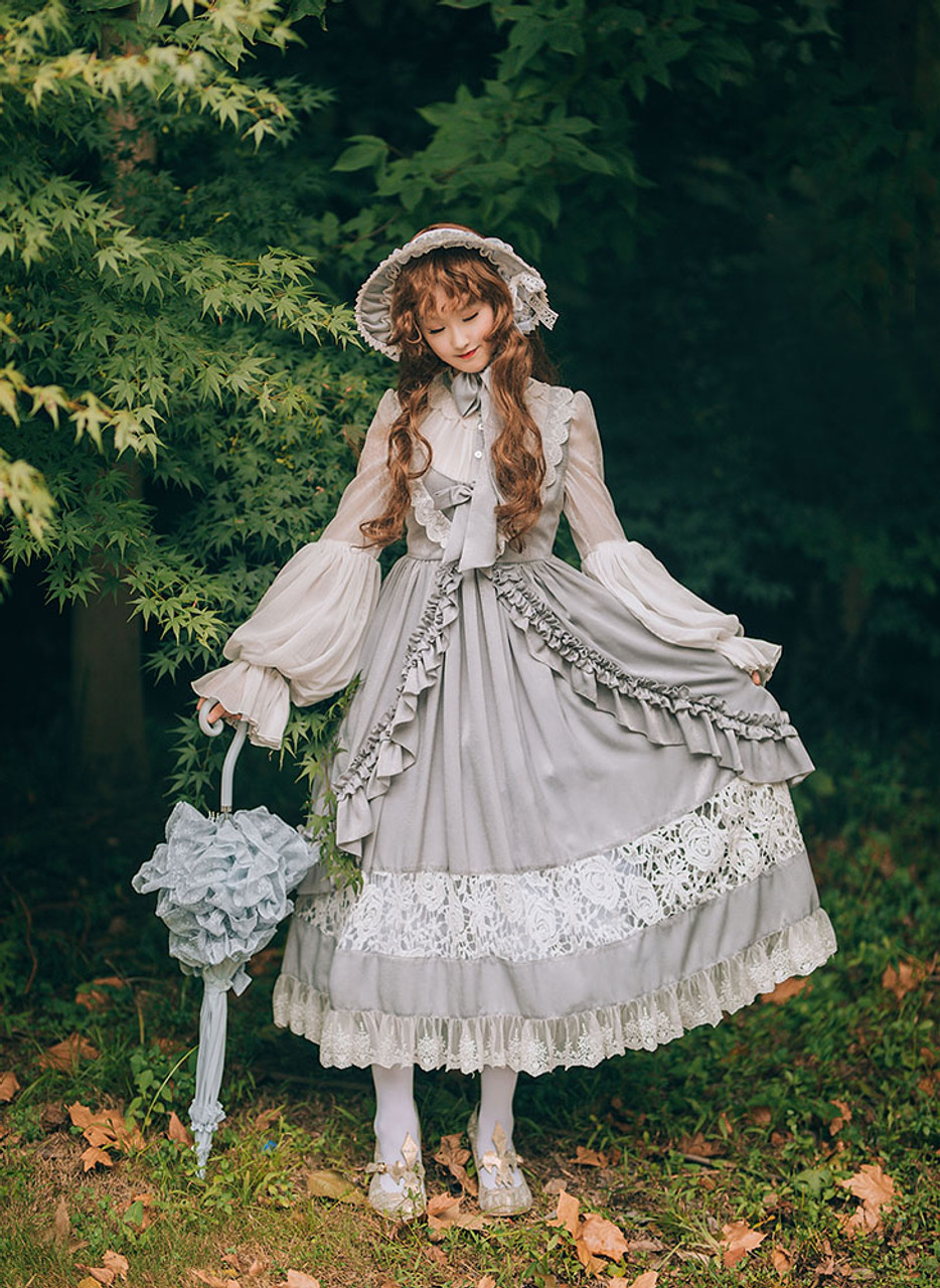 cb13643f5fe2c Vintage Lolita Casual Maxi Dress Wedding Bride White Grey Autumn Spring  Outfit