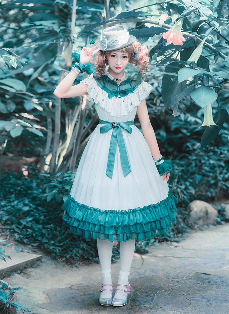 8753c872c2e1 Casual Fashion Chic Lolita Summer Midi Dress Black White Star Prints ...