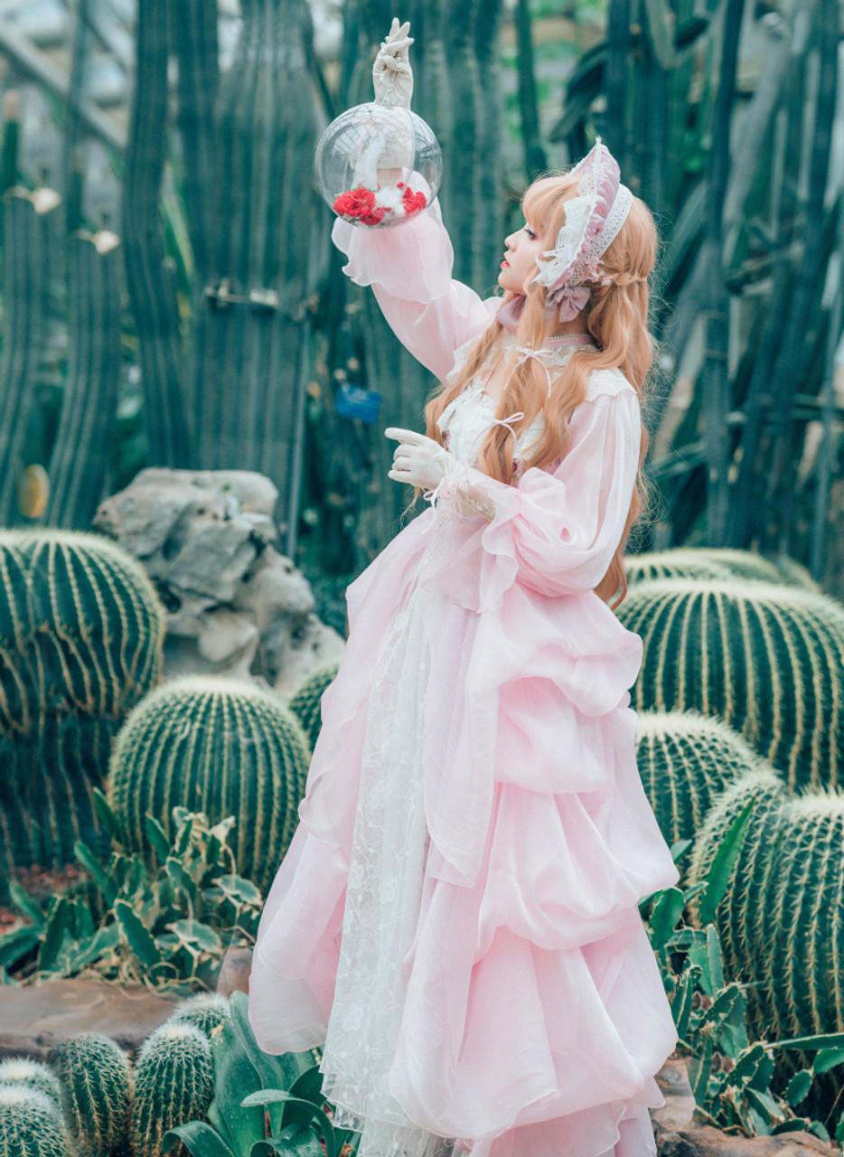 73b660bdf00 Exclusive Chic Maxi Dress Summer Pink Blue Star Prints Regency Ball Dress  Bustle Choker Set