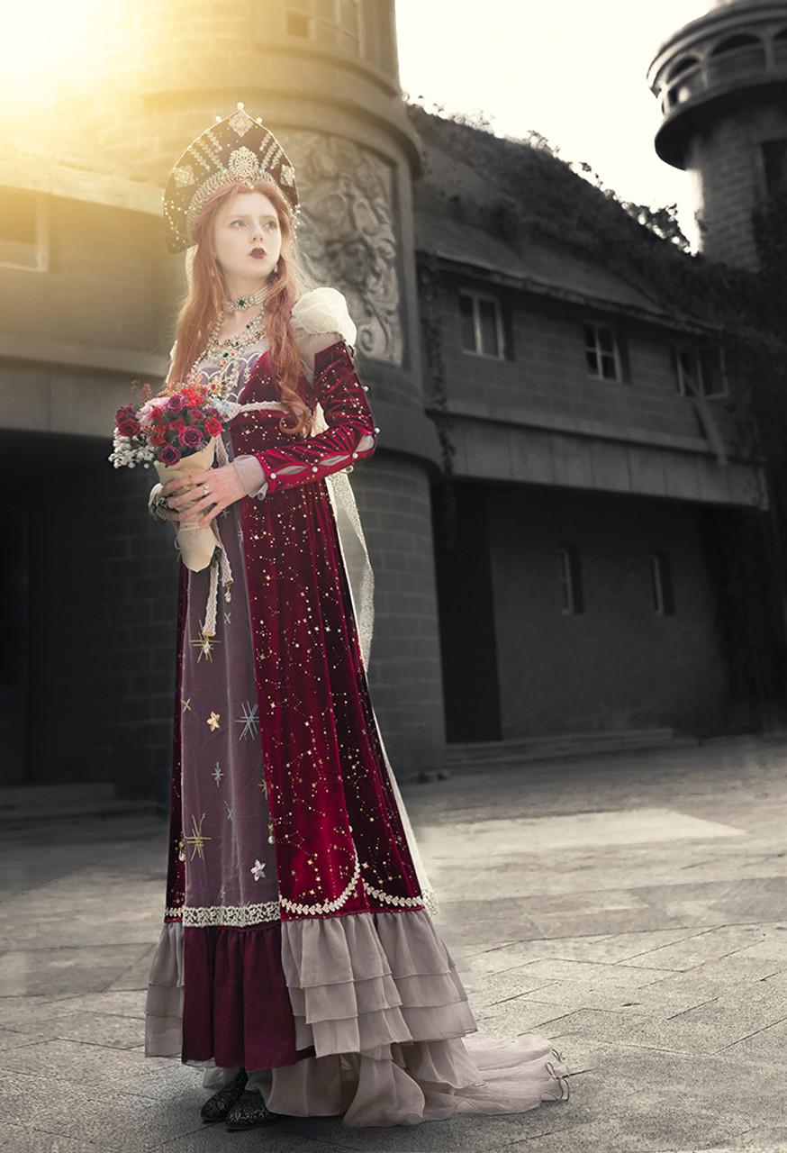 2abd709c4c07 Hollow Crown, Elegant Gothic Refined Retro Empire Waist Deluxe Regency Maxi  Dress Vintage Long Sleeves Starry Velvet Wedding One-Piece & Sleevelets ...