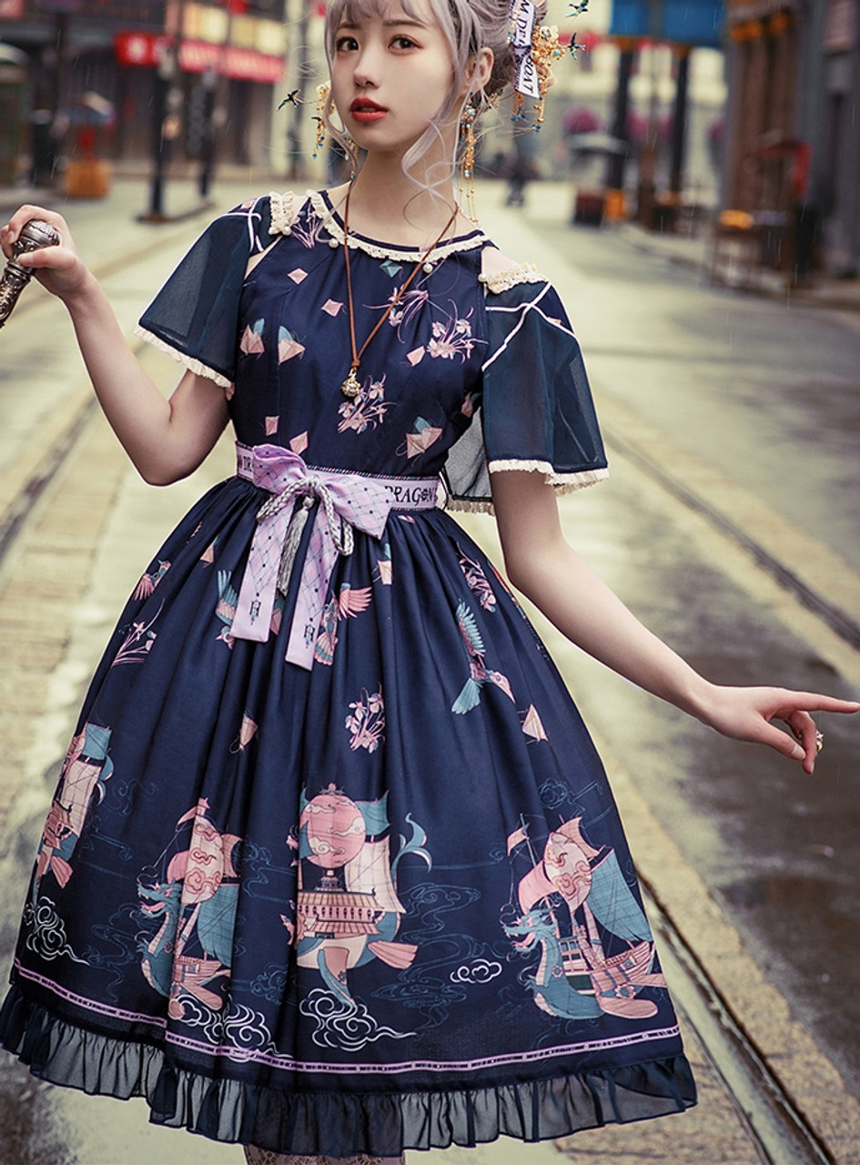 14d8b330b61e Steam Dragon Boat, New Chinese Fashion Lolita Refined Casual Patterned  Summer Midi Dress JSK with Short Cape and Ballet Underdress Set