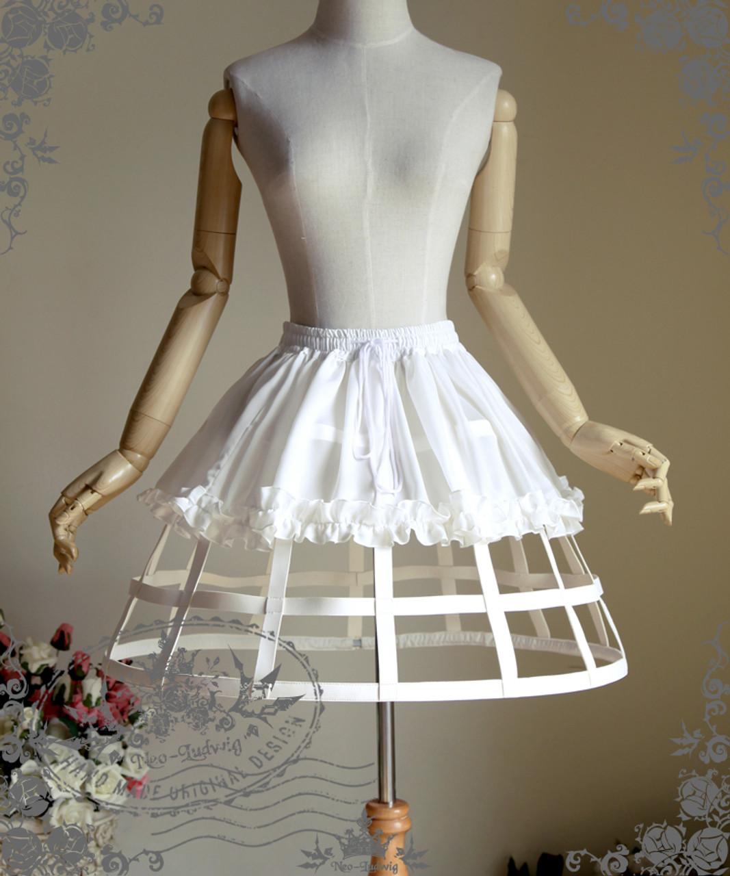 e8e973acc Steampunk Crinoline Midi Skirt Petticoat Cage Skirt Hoop Skirt Black ...