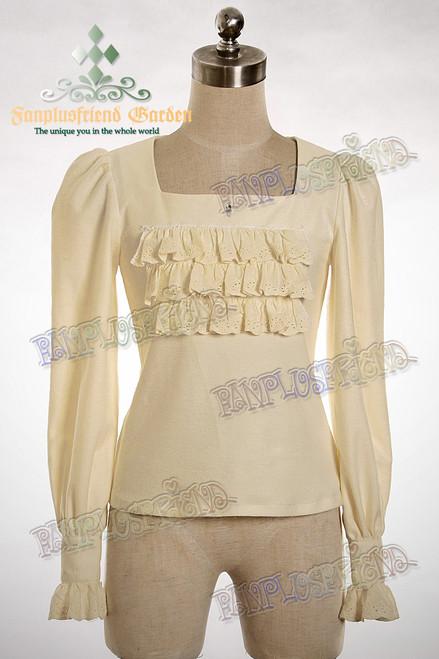 Last Chance: Elegant Gothic Lolita Frill Square Collar Cutsew Shirt*2colors Instant Shipping