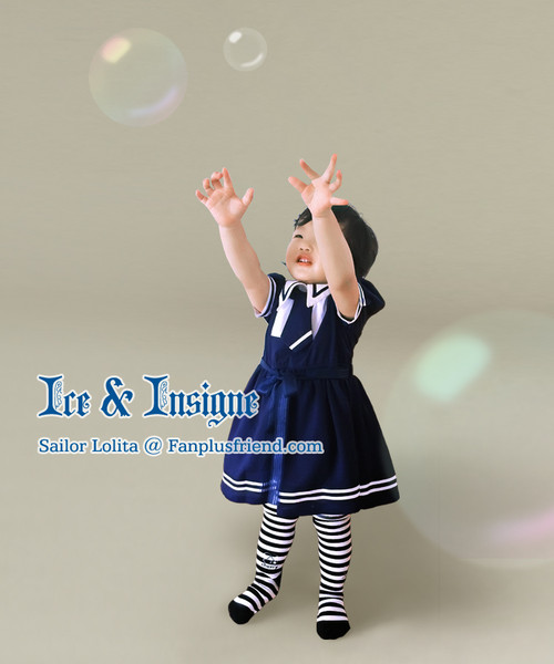 Last Chance: Ice & Insigne, Sailor Lolita Solid Color Short Sleeves OP/Dress*Kids Version*2colors Instant Shipping