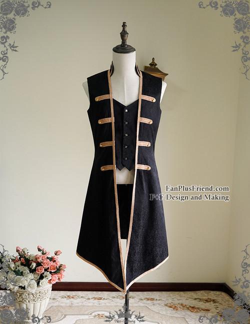 Rococo Lolita Victorian Elegant Gothic Unisex False 2Pcs Long Vest Jacket*2colors