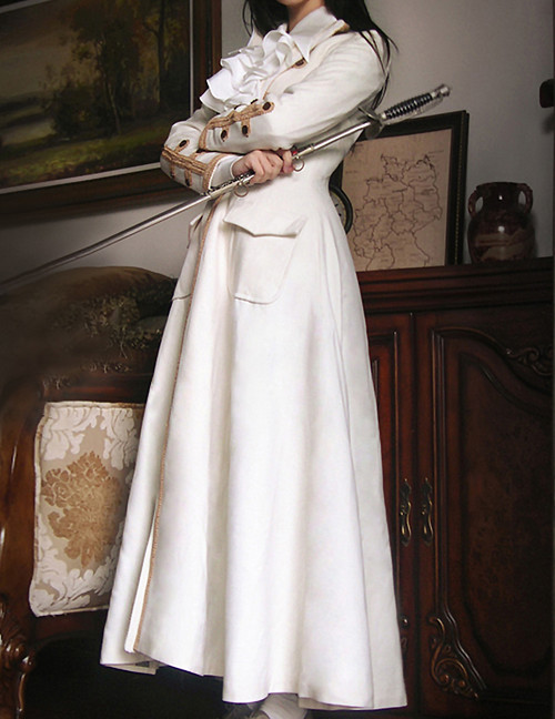 Beyond the End of Time, Steampunk Gothic Lolita Dandy Unisex Long Wool Coat*3colors