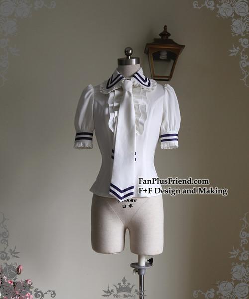 c0c3db02c8d6 Last Chance  Lolita Short Sleeves Shirt Summer Blouse Neck Tie Set White  Black ...