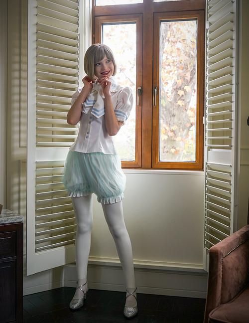 c1317ad57d13 bloomers UN00025  Last Chance  Lolita Short Sleeves Shirt Summer Blouse  Neck Tie Set White Black ...