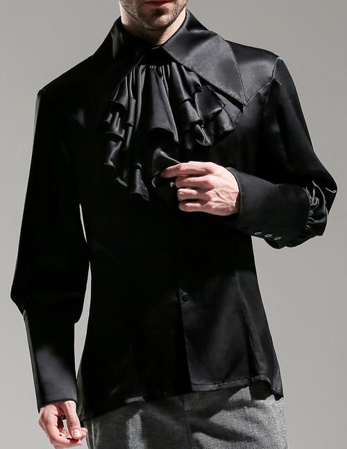 Vintage Long Sleeve Shirt Men Dress Shirt Cravat Set Black White Purple