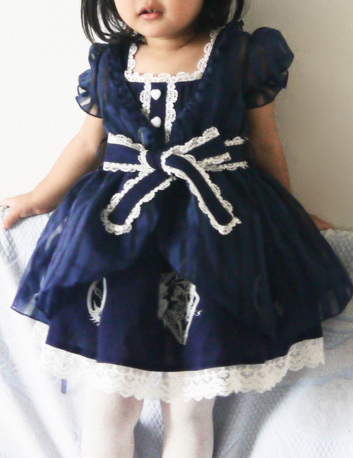 Last Chance: Bunny Alice Lolita Parent-Child Clothes 4pcs Dress & Hairbow Set*Kids Version 2colors Instant Shipping