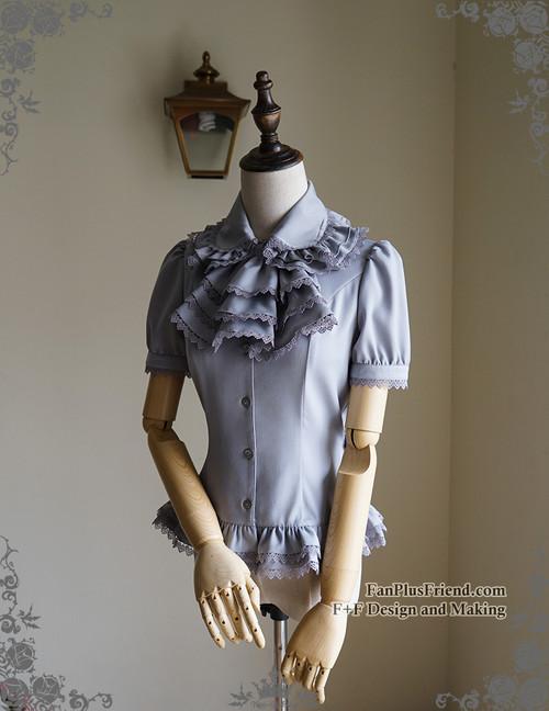12a5c7eb412b ... Last Chance  Vintage Short Sleeve Shirt Blouse Jabot Set Retro Fashion White  Black Grey ...