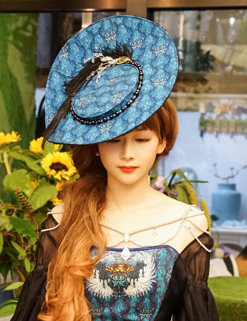 Enchanted Forest, Classic Lolita Vintage Elegant Handmade Retro Cartwheel Hat*2colors