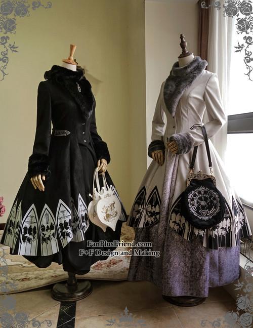 Co-ordinates Show (fur collar: P00611) (Left: skirt: SP00174, birdcage petticoat: UN00019N, tote: P00613) (Right: dress inside: DR00173, birdcage petticoat: UN00019N, tote: P00583)