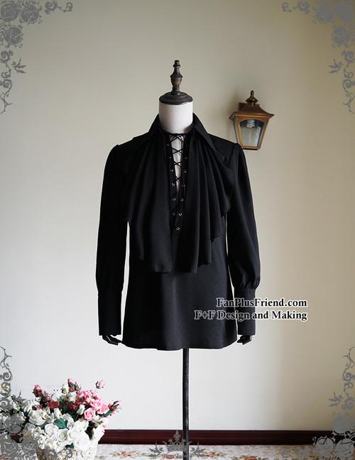 Steampunk Loose Shirt Men Dress Shirt Cravat Set Retro Fashion White Black Blue