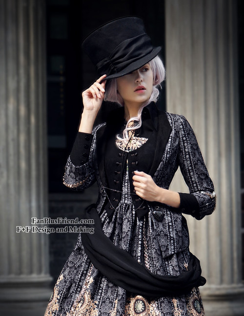 Model Show (Black + Grey Ver.) (hat & sash set: P00614, blouse: TP00125N, dress: DR00189)
