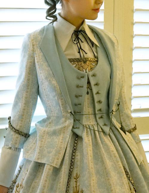 Gothic Lolita Fashion Jacket, Bustle Tuxedo Jacket*black,mint,burgundy,navy blue