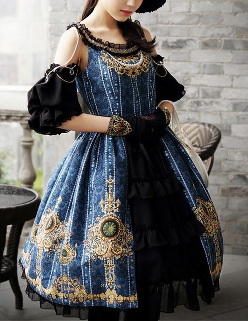 Last Chance: Lolita Fashion Ball Dress Chic Rococo Off the Shoulder Gold Print Dress *burgundy,moon night blue,black,mint