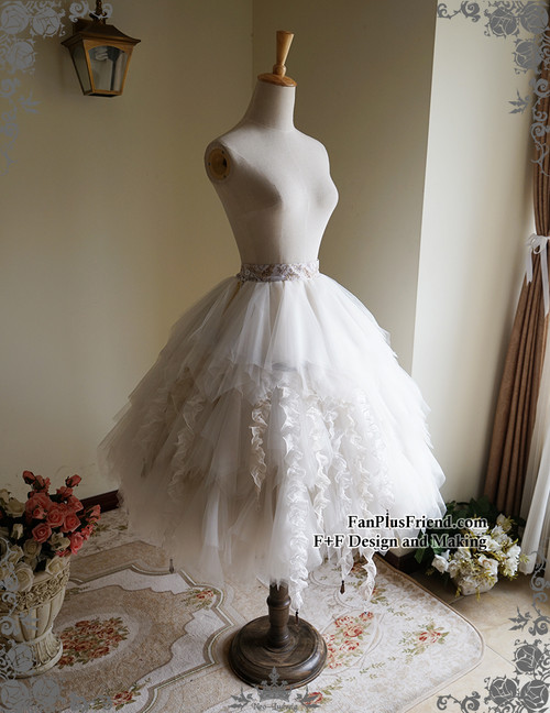 544198e02e ... Front View with Bustle Belt worn underneath the tulle pieces; Skirt ...