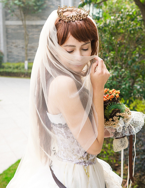 Handmade Steampunk Wedding Veil Bridal Veil Crown Set