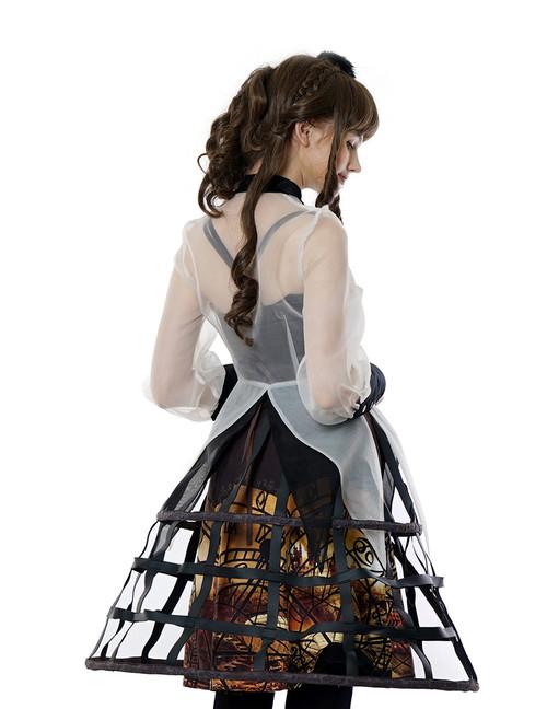 15901c3ff Steampunk Crinoline Petticoat Long Cage Skirt Hoop Skirt Black White