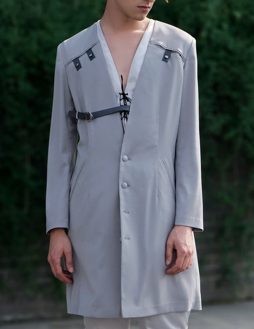 Last Chance: Vintage Light Jacket for Men Overshirt Ancient Summer Robe Black Grey