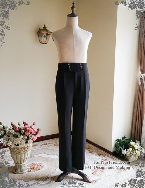 Vintage Mens Pants High Waisted Pants Black