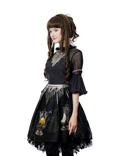 fc92cf40188 Vintage Silk Midi Dress Printed Dress Long Sleeve Dress Black Dress ...