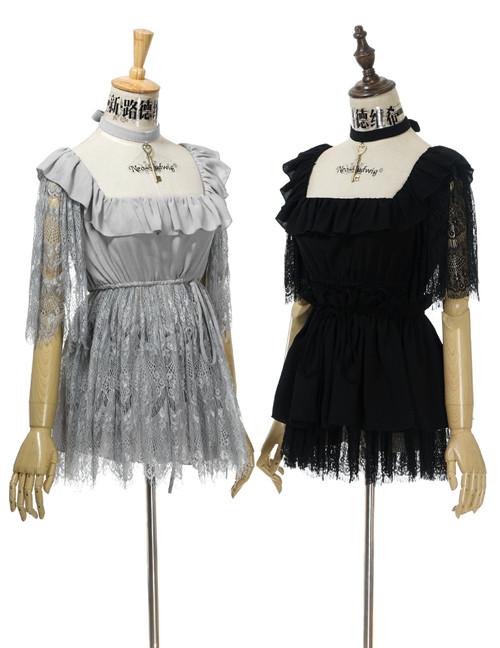 Group View Light Grey Ver.: Skirt Piece worn underneath the Cutsew Black Ver.: Skirt Piece worn outside the Cutsew