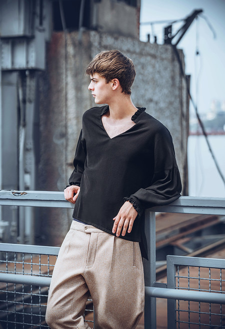 Vintage Blouse Gothic Retro Steampunk Casual Long Shirt for Men Oversize Black/White
