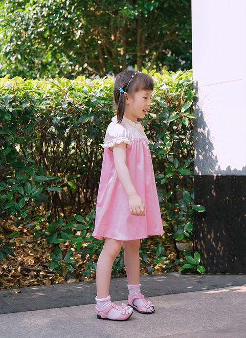 Cute Lolita Kids Silk White Midi Dress Pink Summer Dress