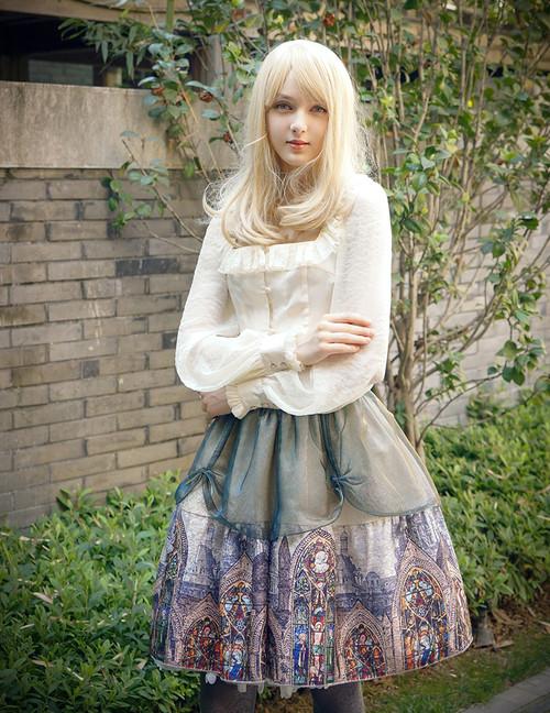 Model Show (Champagne + Green Golden Illusion Tulle Ver.) (blouse: TP00165, petticoat: UN00026)