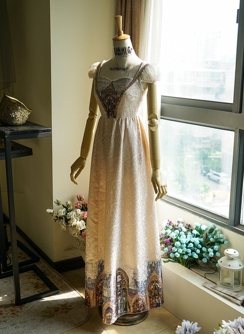 f1f106aa69a6 ... Front View of Empire Waist Dress under natural sunlight (Champagne +  Light Ivory Version) ...