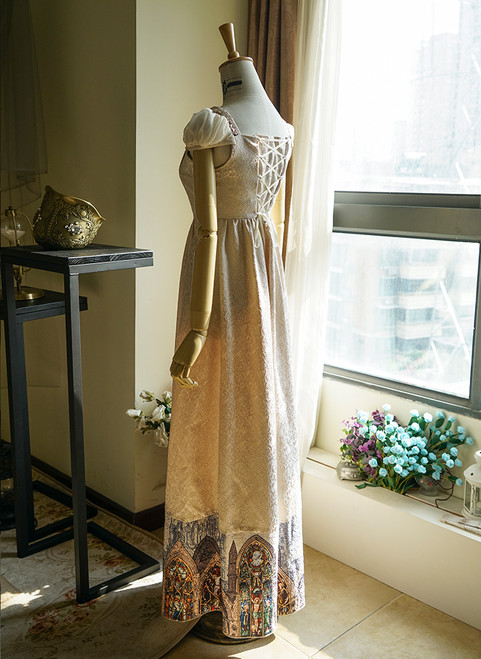 987ab42fc7dc ... Back View of Empire Waist Dress under natural sunlight (Champagne +  Light Ivory Version) ...