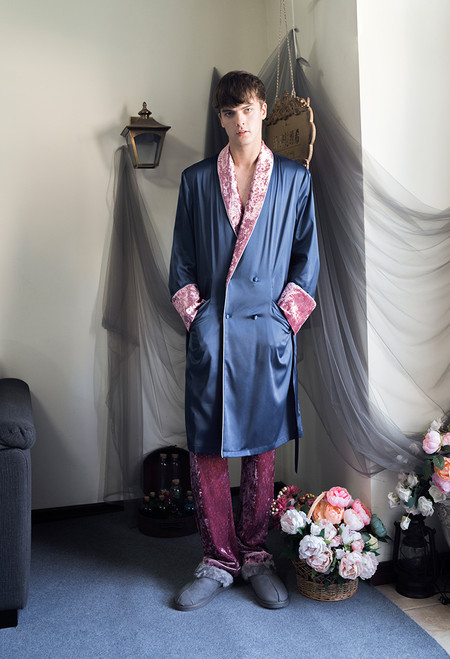 Vintage Fashion Mens Silk Pajamas Casual Gown Velvet Trousers Double Breasted Outfit