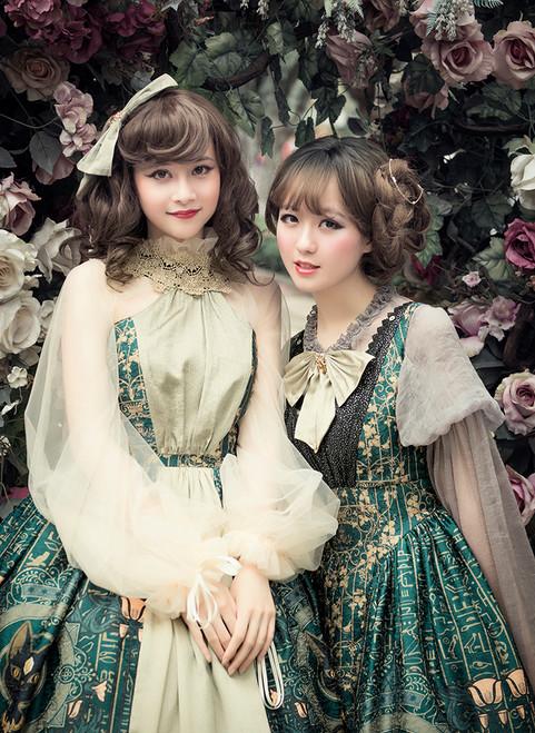 Model Show (Dark Green + Gold + Light Ivory Ver.) (dress on right: DR00239, blouse: TP00158, petticoat: UN00026)