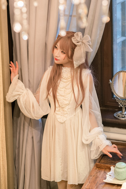 Model Show of Shirt Dress (White + Beige Tulle Ver.) (hair bow from P00670)