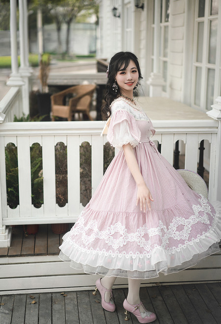 Model Show (Pale Pink Stripe Ver.) (hairbow: P00672, hat: P00673, underskirt: UN00030)