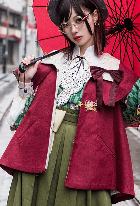 Model Show (Burgundy Ver.) (hat: P00648, Japanese style half coat: CT00309N, blouse underneath: TP00176N, skirt: SP00198N)