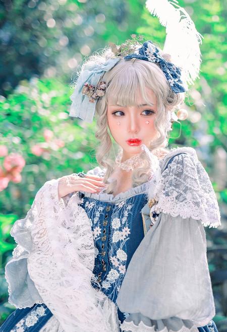 Model Show (Dark Blue + Light Grey Ver.) (floral vest dress: DR00267, long sleeves underdress: DR00266)