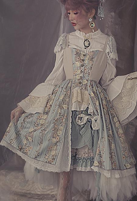 Model Show (Pale Mint + Pale Khaki Ver.) (blouse: TP00184, skorts: SP00211, bustle skirt: UN00030)