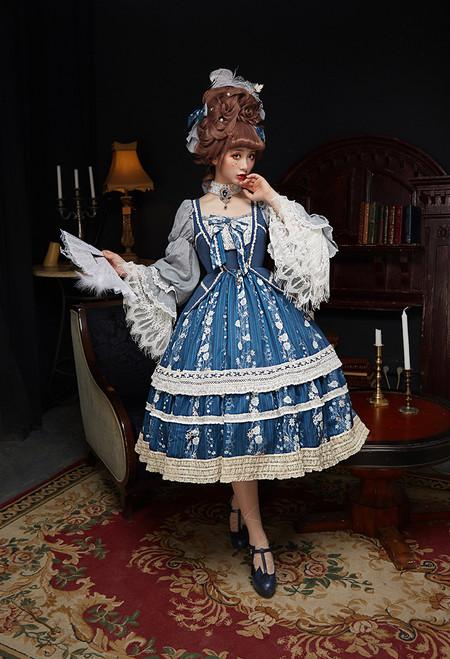 Model Show (Dark Blue + Dark Blue Ver.) (small hair bows: P00684, long sleeves underdress: DR00266, petticoat: UN00019, UN00026)