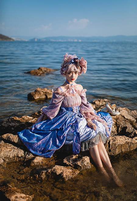 Model Show (Bluish Pink + Antique Pink Ver. with Optional Jabot P00689) (hair bow: P00687, JSK underneath: DR00270)