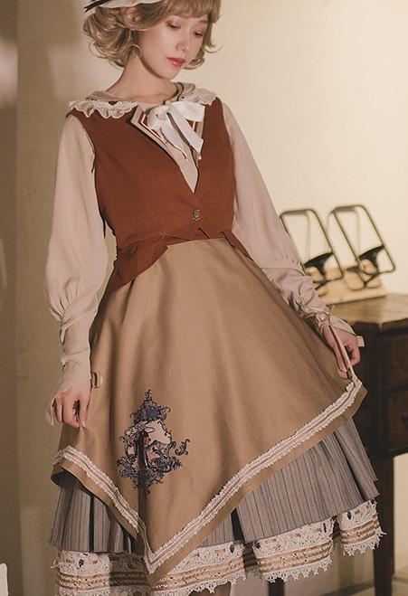 Model Show (Caramel + Pale Khaki Ver.) (blouse underneath: TP00186, striped JSK: DR00272, underskirt: UN00030)