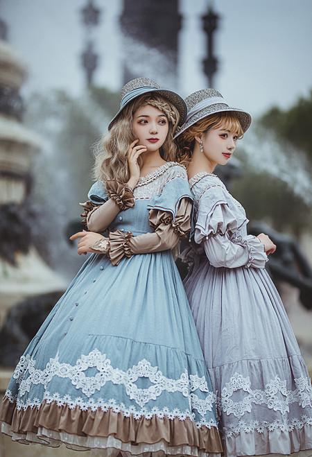 Model Show (Pale Grey & Chalk Blue Band Ver.) (dress: DR00274, underskirt: UN00030)