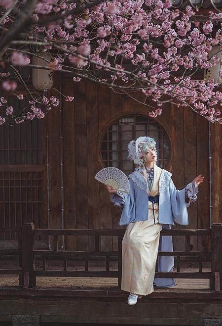 Model Show (Butterfly Pea Tea Latte Ver.) (bonnet: P00557, corset: Y00046, blouse: TP00191) *beige kimono NOT for sale.