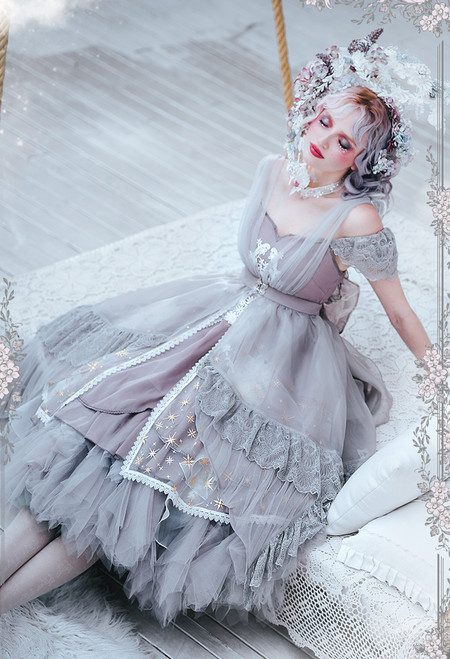 Model Show (Grey + Pale Lilac Grey Ver.) (JSK: DR00278 with optional big bow P00704, underskirt: UN00030N)