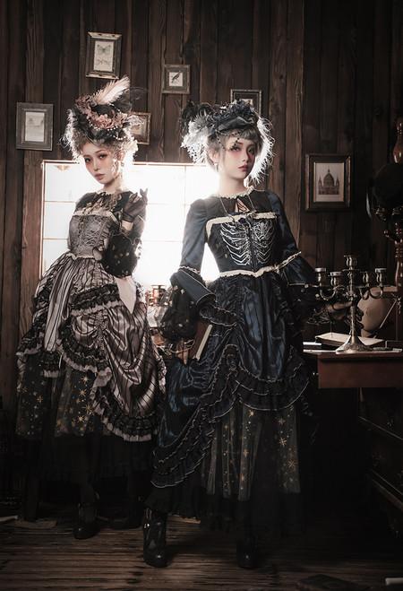 Model Show (Antique Blue & Antique Pink Ver.) (headdress: P00715, dress: DR00286, underskirt: UN00030N, bustle pillow: P00714)