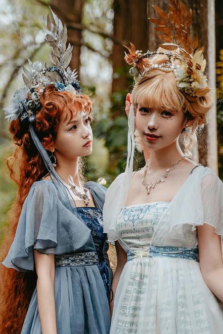 Model Show (Pearl White + Golden Branch Leaf & Deep Ocean Blue + Silver Branch Leaf Ver.) (dress: DR00295)