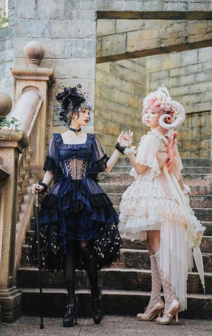 Model Show LEFT (corset: Y00025X, shorts: SP00208, skirt piece: UN00030B) RIGHT (corset: Y00025X, waist bow: P00704, skorts: UN00034, petticoat: UN00026N, skirt piece: TP00192)