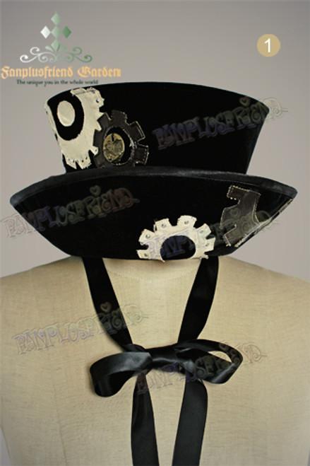 Last Chance: Dandy Steampunk series: Clockwork Velveteen Top Hat*All Black Instant Shipping